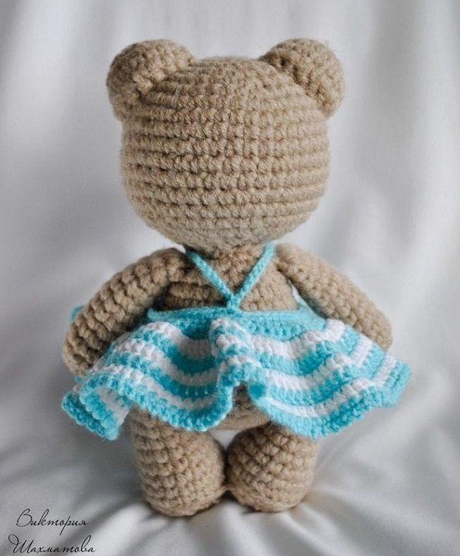 платье крючком для игрушки амигуруми схема