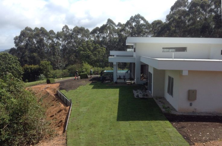 Grass is rolled out. Wow, it's almost a finished home!