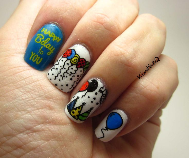 """""""Happy Birthday to ME"""" - OPI """"Alpine Snow"""" and OPI """"Ogre the top Blue"""". Nail decals created using MoYou Happy Birthday 2, Mundo de Unas black and yellow stamping polishes and acrylic paint."""