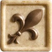 "Found it at Wayfair - Romancing the Stone 2"" x 2"" Compressed Stone Fleur de Lis Insert with Bronze Inlay in Ivory"