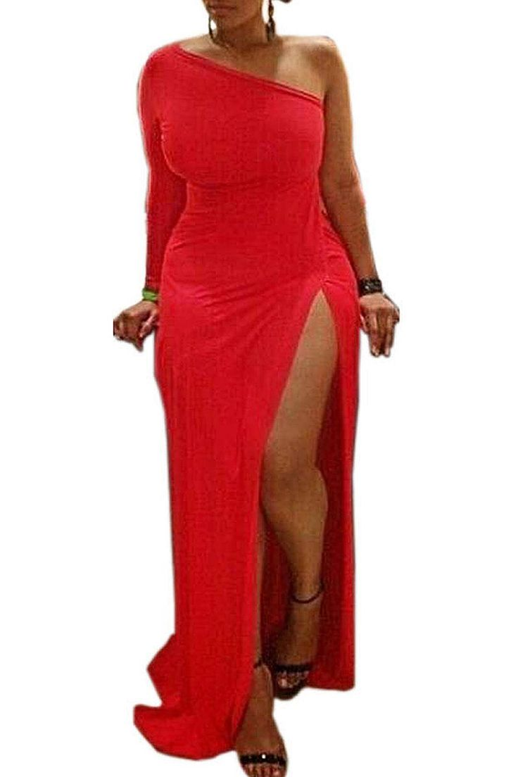 Plus Size Red One Shoulder Party Dress with High Thigh Split - US$19.95 -YOINS
