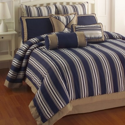 Blue And White Striped With Tan King Bedding Bedding