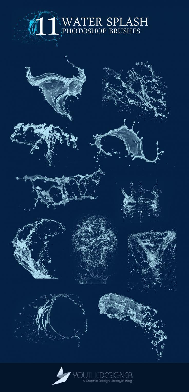 Water Splash Photoshop Brushes via You The Designer