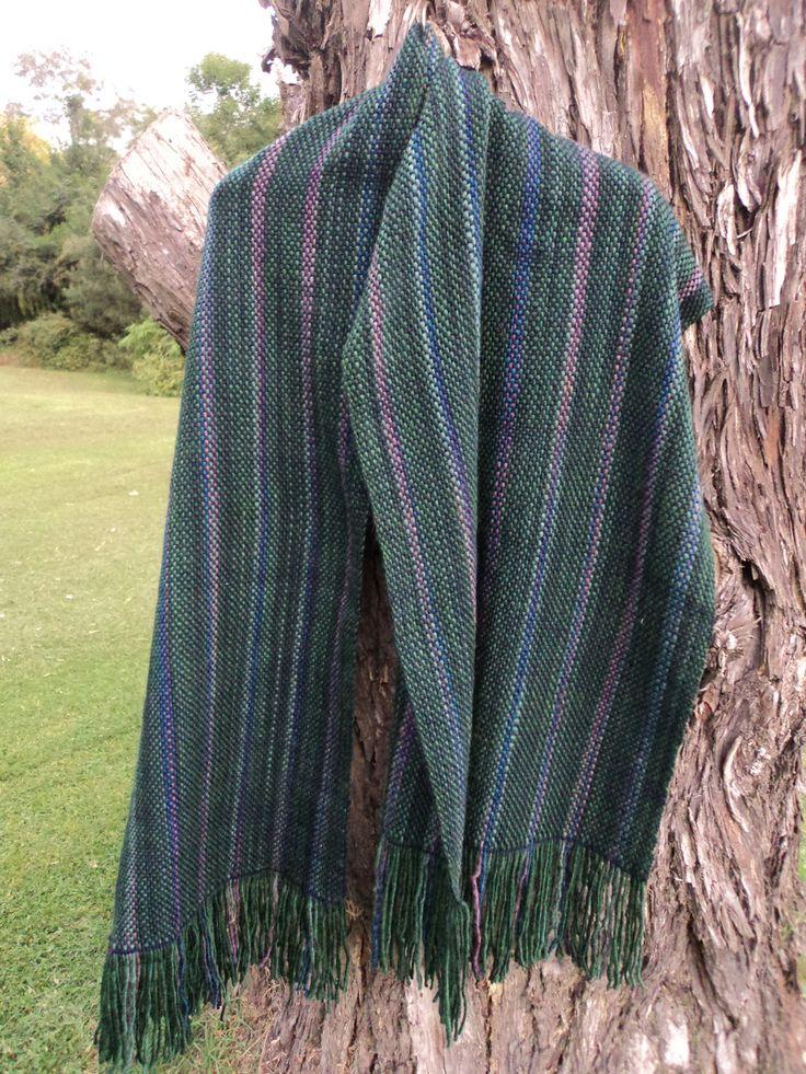 Pashmina de lana azul, verde y tonos de violeta