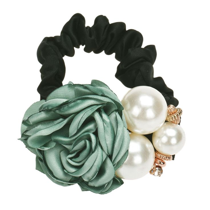Pearls Beads Rose Flower Pattern Malloom Hair Bands Rope Scrunchie Ponytail Holder for Women