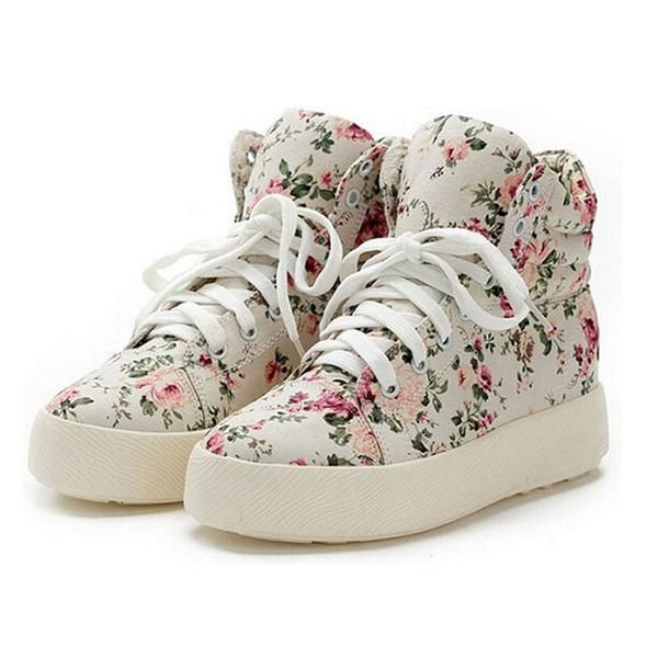 Canvas Floral Ankle-High Shoes
