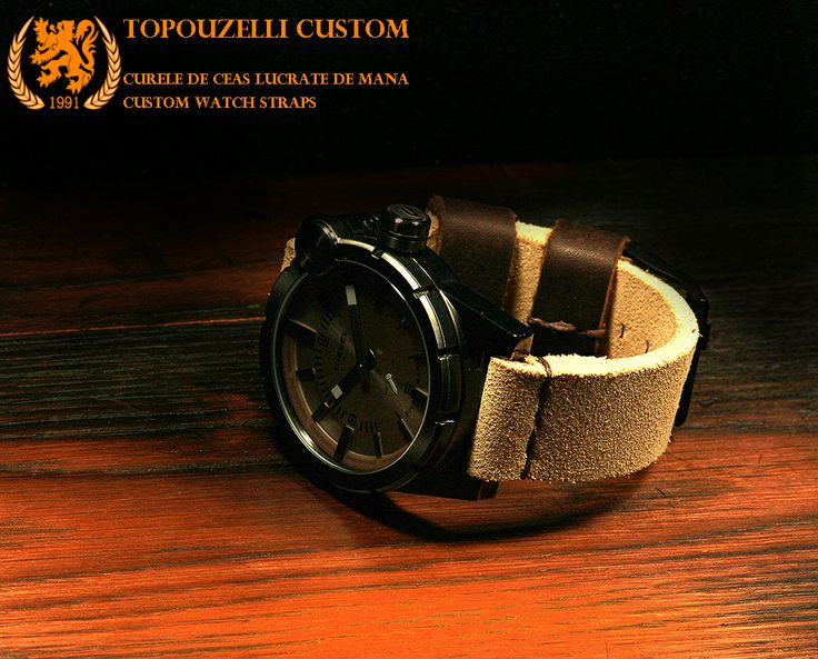 "Topouzelli custom 346 - Curele de ceas din piele lucrate de mana la comanda. Custom watch straps. http://topouzelli.blogspot.ro jeanraval@gmail.com 0727167802 0771296409 Veg. tan. leather, "" HD346"". 125/75/24 mm. Unique work. Authenticity certificate. Curea de ceas 125/75/24 mm. Model ""HD346"". Cusatura mixta, cert. autenticitate.1 brida de rezerva. Unicat. 79 lei"