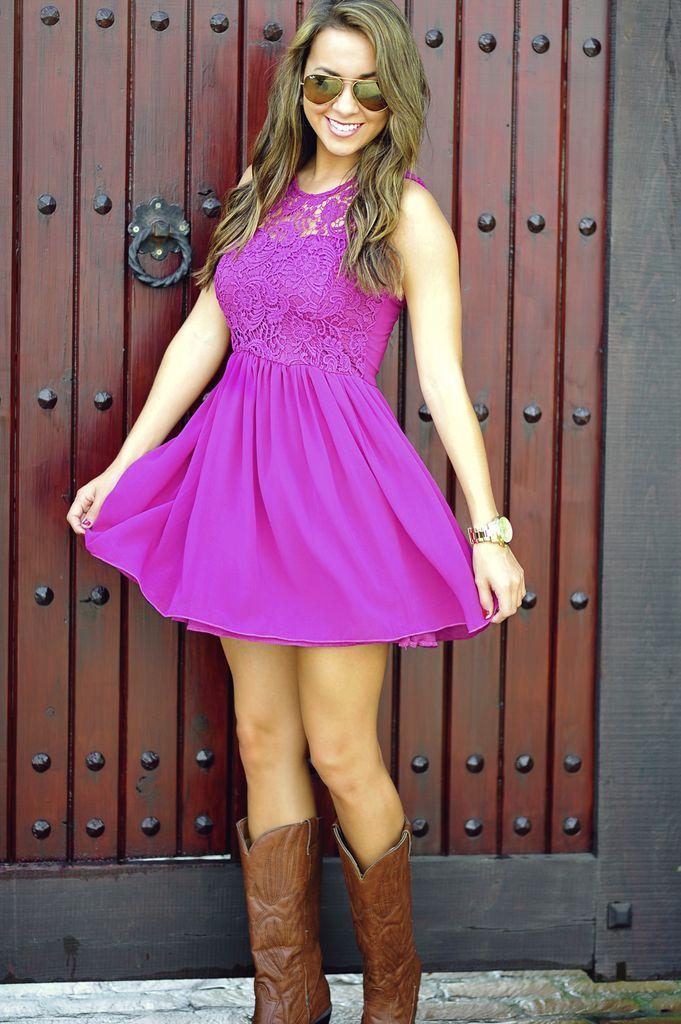 Adorable Purple Top Lace Dress