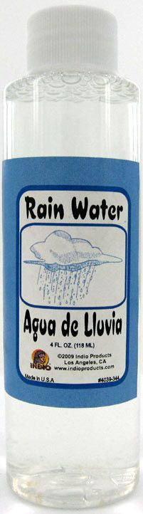 For bringing luck and good fortune, also used in baths for spiritual cleansing.  Rain Water | Yeyeo Botanica