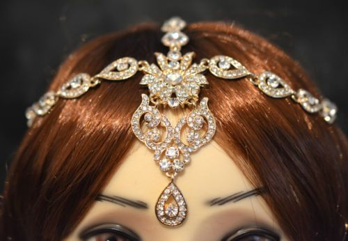Gold Crystal Encrusted Indian Matha Patti Tikka Head by bjewel78