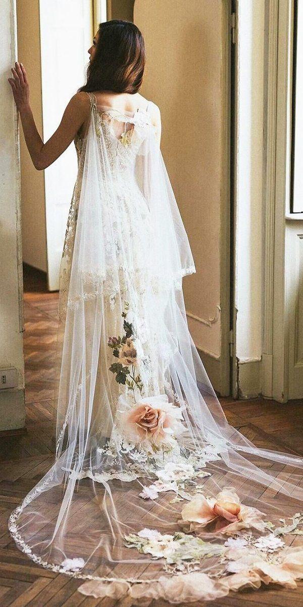 36 Pretty Floral Wedding Dresses For Brides Wedding Forward Floral Wedding Dress Wedding Dresses Cape Wedding Dress