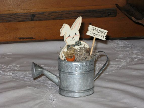 Watering Can with Wooden Bunny Garden Tours by TheCountryTouch