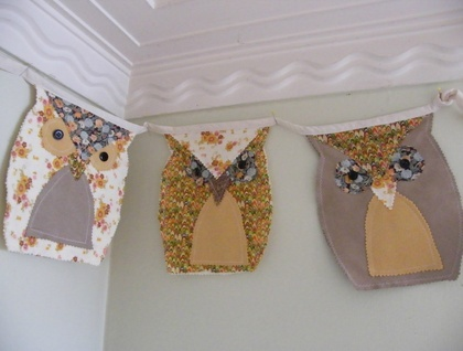 Owl Bunting - Vintage and Upcycled Fabrics
