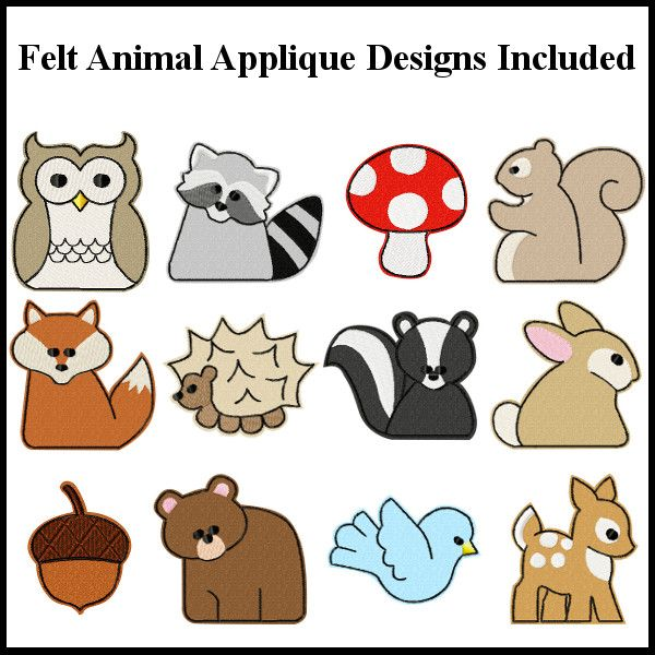 woodland animals machine embroidery designs