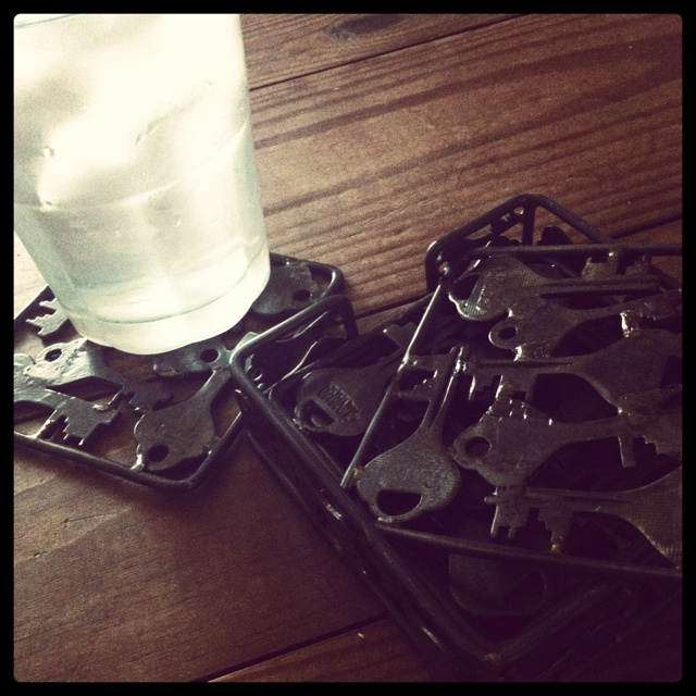 Old keys welded together to create one of a kind coasters for Craft welding ideas