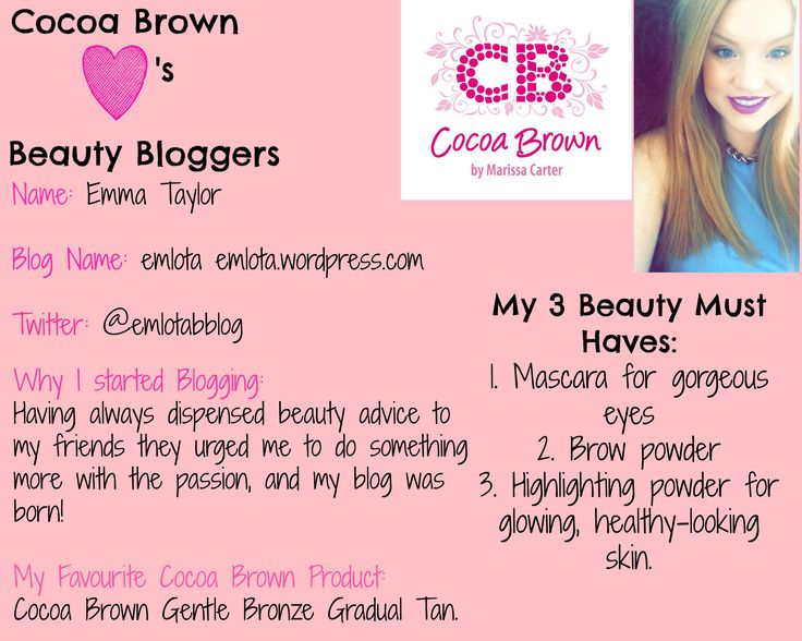 Emma- Cocoa Brown Beauty Blogger of the week