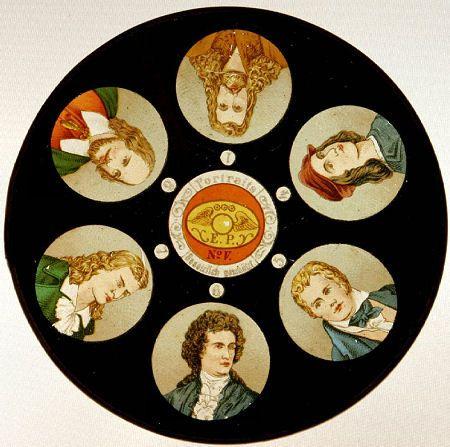 Disk shaped magic lantern slide containing six images showing portraits of gentlemen. Manufacturer is Ernst Plank (E.P.)  .http://luikerwaal.com/schijf1_uk.htm