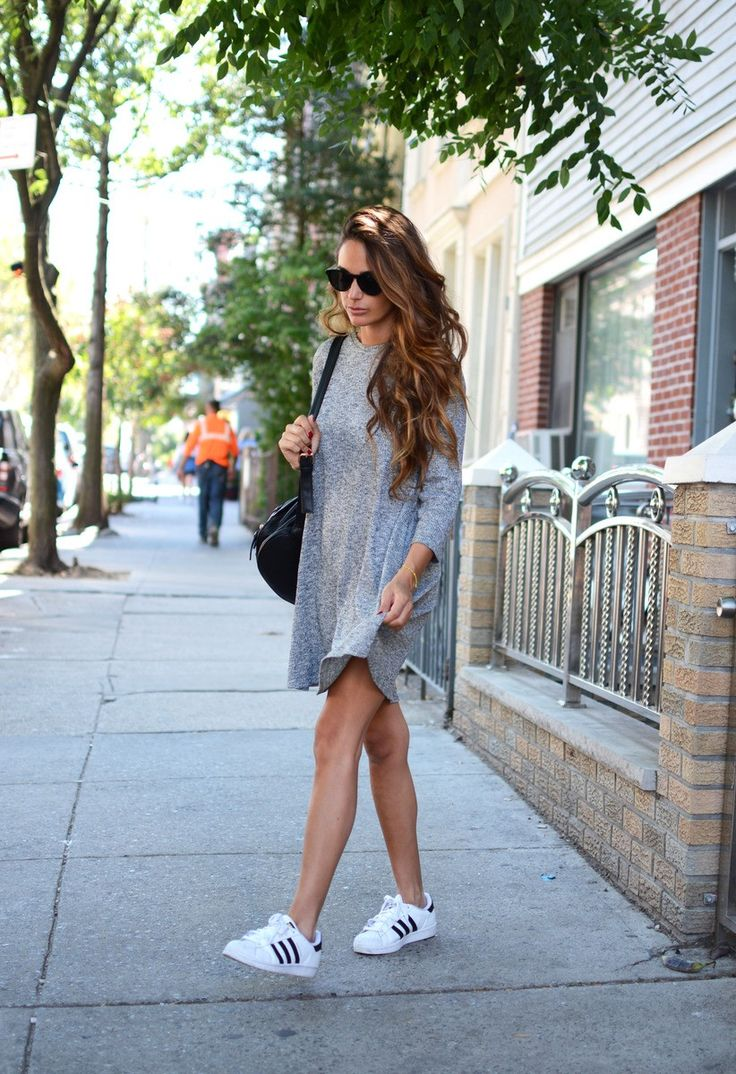 grey dress for Fall - dress: Pull & Bear, sneakers: Adidas | stellawantstodie http://FashionCognoscente.blogspot.com