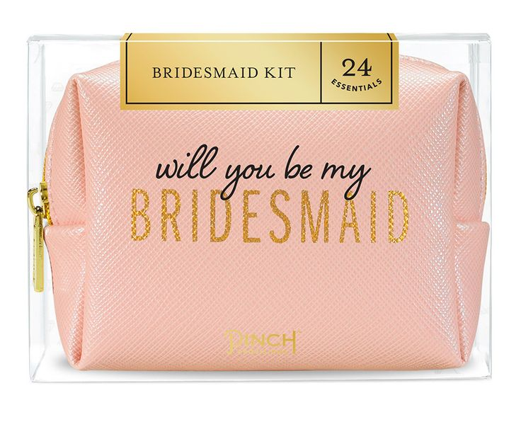 Double duty. This 24-piece Be My Bridesmaid Kit pops the question and saves the day, all in one gorgeous package. Proposal box removes to reveal a gold foil-sta