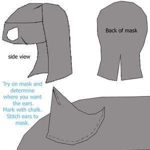 How to Make a Catwoman Mask: Sew on the Ears
