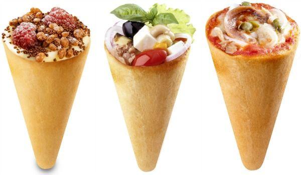 Des glaces salés et des  cones de pizza