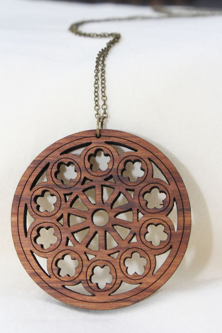 Christchurch Cathedral rose window necklace on rimu - $45