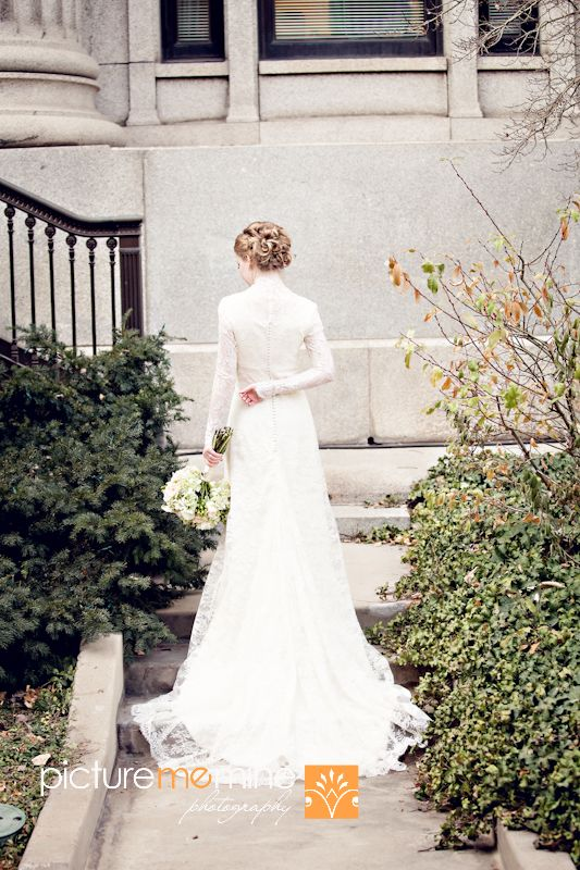 Delicate lace modest wedding gown in this salt lake lds for Mormon temple wedding dresses