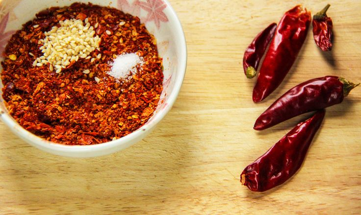 Chili Source * Fresh ground chilli powder, sesame, and a pinch of salt. *Add hot boiled oil to the mix and stir till it cools down.