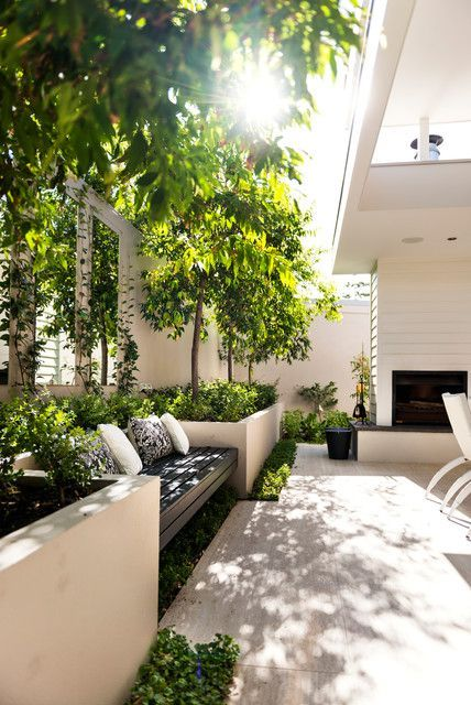 PATIO - built-in garden bed/seating, modern but lush