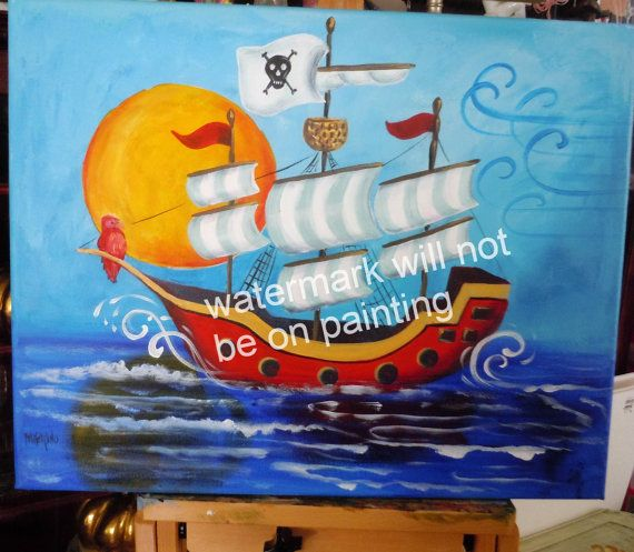 XL Pirate Ship nautical pirate theme nursery boys room wall art print full moon parrot sea ocean on Etsy, $20.00