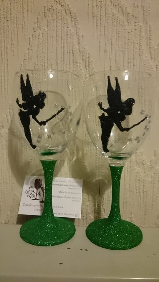 Tinkerbell silhouette wine glass with green glitter stem. Available at http://www.dazzlingcrafty.uk/