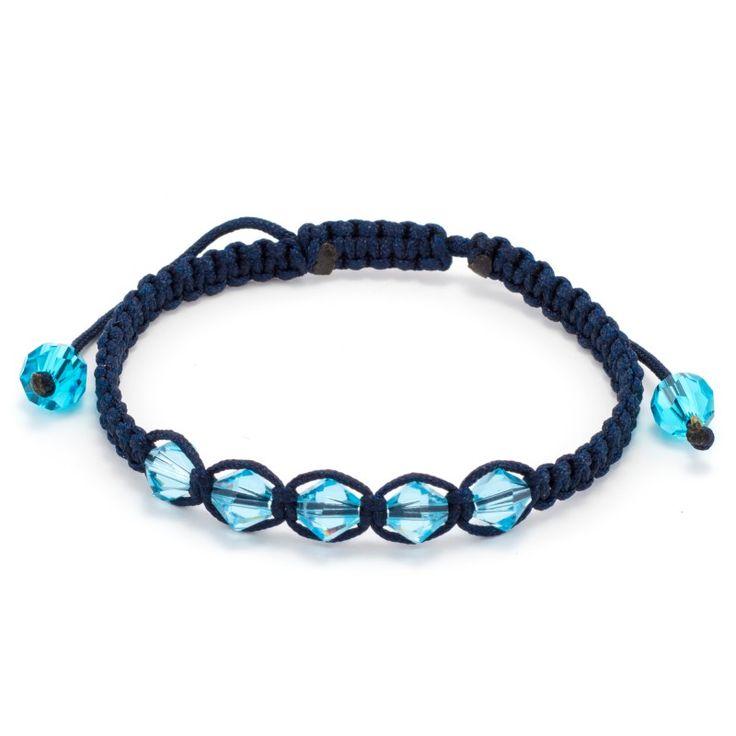 Χειροποίητο βραχιόλι μακραμέ με 5 χάντρες swarovski Xilion χρώματος σιέλ και διαστάσεων 5,5mm. Ρυθμιζόμενο ποιοτικό κορδόνι σε χρώμα blue black.