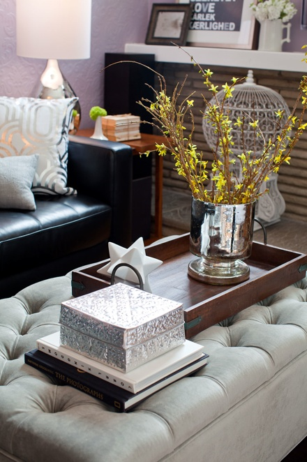 Love The Ottoman Coffee Table And The Simple Items On The Tray
