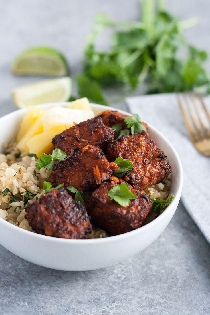 Al Pastor Tempeh with Cilantro Lime Cauliflower Rice // vegan, vegetarian, dinner recipe