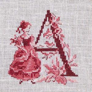 Le grand ABC «Toile de Jouy» rouge à broder au point de croix les brodeuses parisiennes