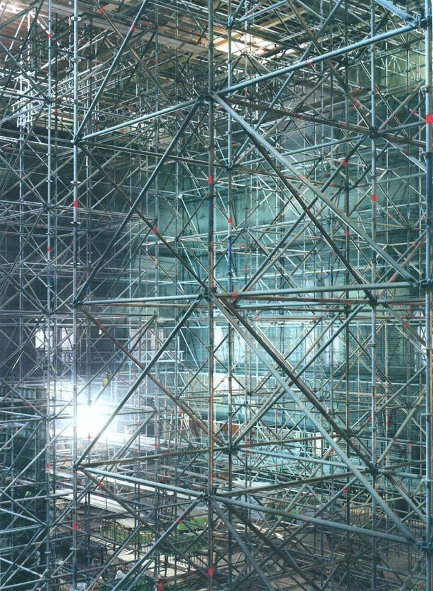 structuur, opgebouwd uit allemaal ijzeren staven.
