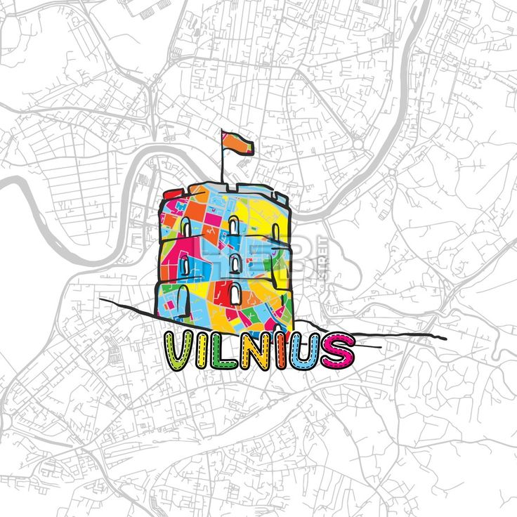 Vilnius, Lithuania, Colorful Map Sign by #Hebstreit #map #travel #print #icon #europe #capital #landmark #urban #greeting #gift nice #handmade #vector #download #product
