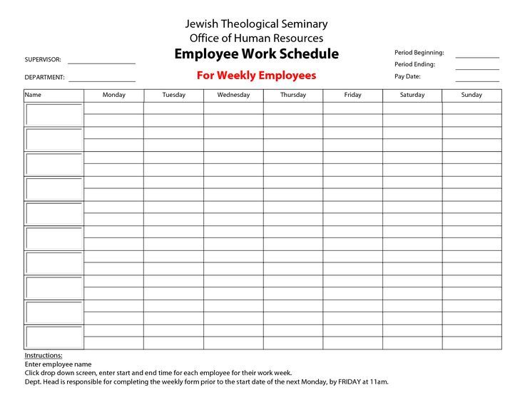 Printable Employee Work Schedules Calendar Template 2016 Monthly