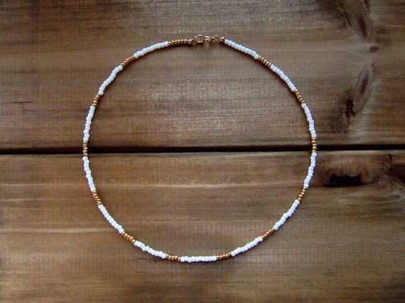 White and Gold Beaded Choker Necklace // Gold Choker // White