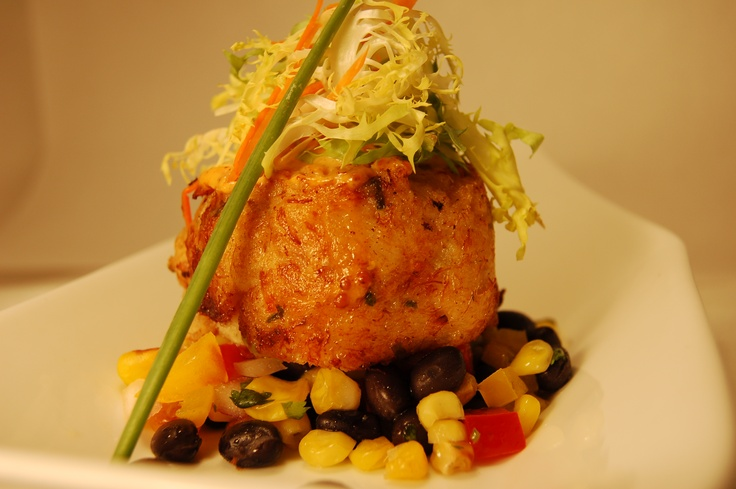 Southwestern Grouper Cake - Pan seared grouper cake served over a chilled corn and black bean salsa.  By Morrell Caterers  www.morrellcaterers.com