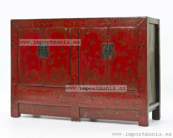 Aparador oriental rojo decorado guadalajara muebles chinos for Decoracion china para casas
