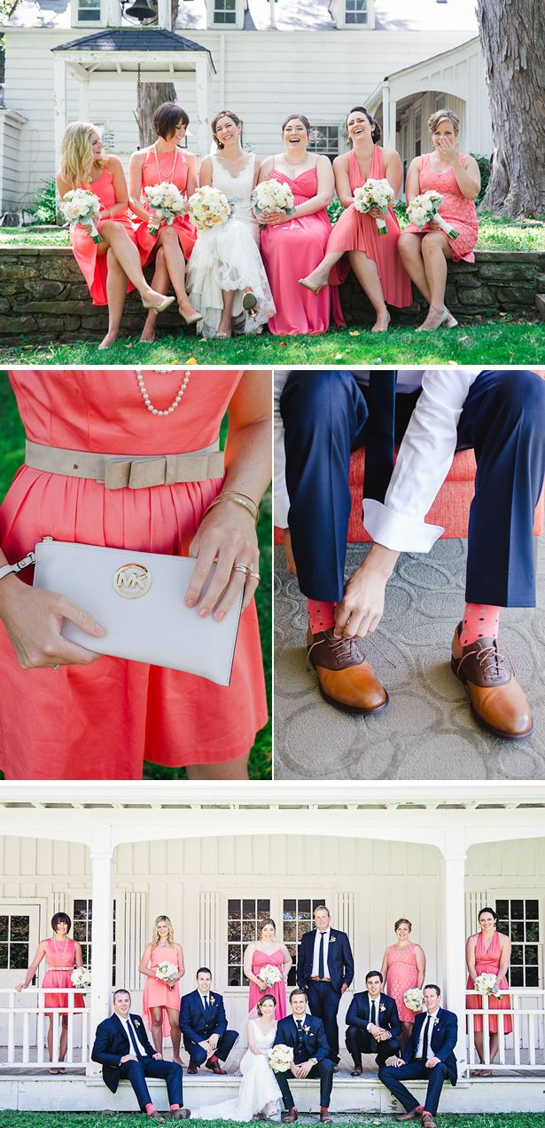 Bridesmaids in coral and groomsmen in navy-- such a great combo! {Wendy Alana Photography}