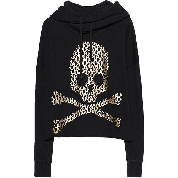 TRUE RELIGION Destroy Crop Black // Hoodie with gold print (4.300 CZK) ❤ liked on Polyvore featuring tops, hoodies, fleece lined hoodies, crop top, cropped hoodies, sweatshirt hoodies and fleece lined hoodie