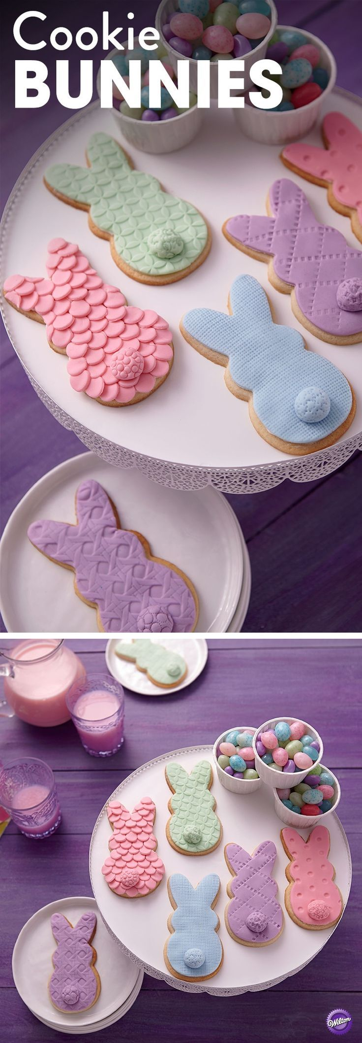 The bunny cookies are showing hop couture! Their fondant coats are done in cool pastels and textured with the Wilton Pattern Embosser Set and decorating tips. Perfect as treats after an Easter egg hunting activity!