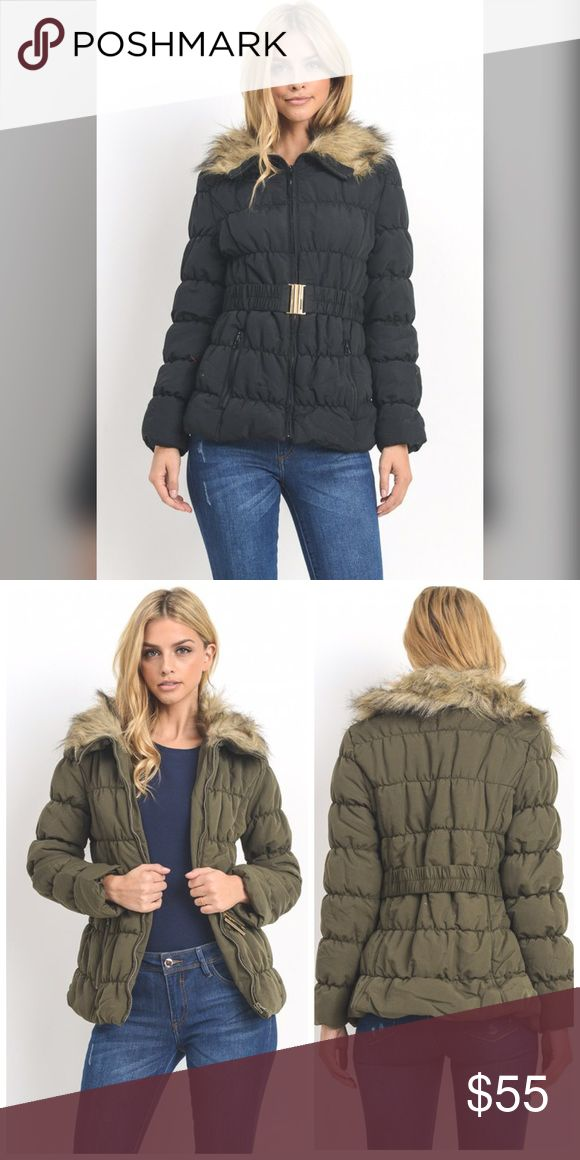 PREORDER Black Faux Fur Parka! This is listing is for the black Parka- second photos for fit only! Adorable and warm! Padded Parka with faux fur - waistline belt and 2 front pockets Jackets & Coats Puffers