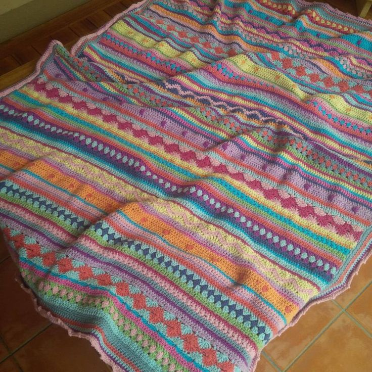 Crochet blanket. 'As-we-drive-stripey '  Road trip crochet project.... By Kari