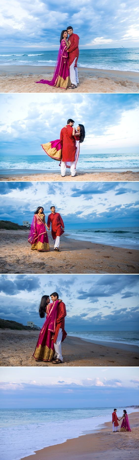 Jacksonville Engagement Photography | Classy, colorful, traditional pre wedding shoot at the St.Augustine Beach. Indian lehenga