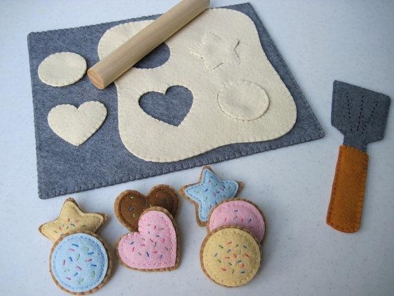 Felt Food Cookie Baking Set by FiddledeeDeeCraft on Etsy, $55.00