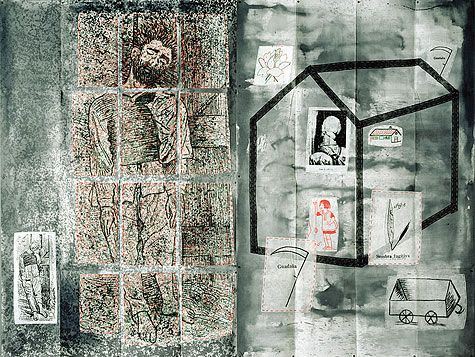 Eugenio Dittborn - Left to their own Luck, Airmail Painting No. 75. 1989-1994 Paint, embroidery, charcoal, thread and photo silkscreen on 2 fragments of synthetic interlining, 203 x 280 cm