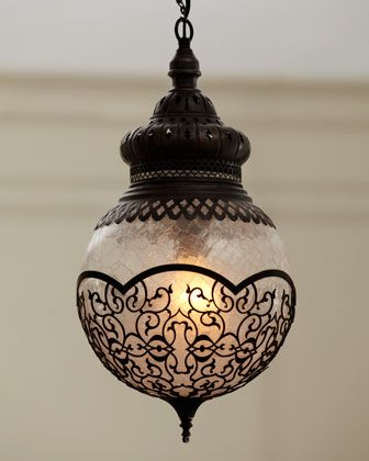 "It would work well in a antique bathroom with subway tile or in a hallway.--""Marrakech"" Pendant at Horchow."